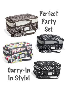 Thirty-One Perfect Party Set, now available to all customers not just hostesses! Expandable to carry two casserole dishes! Go to your next potluck in style! www.mythirtyone.com/rsmelton