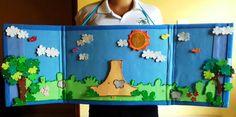 Mais uma das idéias abençoadas da Tia Stéphanie Paula, cenário versátil, com céu removível. Podemos usá-lo sobre a mesa ou no pescoço, e ai... Creative Activities For Kids, Diy For Kids, Crafts For Kids, Toddler Crafts, Preschool Crafts, Cardboard Crafts Kids, Crown Crafts, Puppets For Kids, School Frame