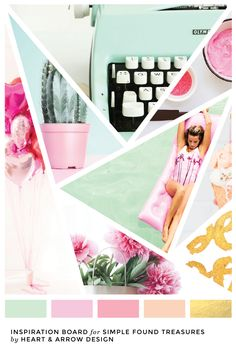 Mint and pink color inspiration board for Simple Found Treasures Blog