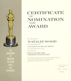 A Natalie Wood Academy Award® nomination plaque for Love with the Proper Stranger