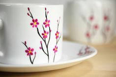 Ceramic Coffee Cup with Saucer White Cherry Tree Tea Cup Hand, You are able to enjoy break fast or different time periods applying tea cups. Tea cups also have decorative features. Glass Painting Designs, Pottery Painting Designs, Pottery Designs, Ceramic Cafe, Ceramic Coffee Cups, Painted Mugs, Hand Painted Ceramics, Bottle Painting, Bottle Art