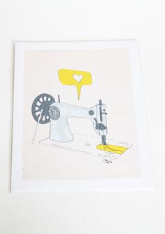 Sew Creative Print By Parada Creations 18.99 at shopruche.com. A perfect accent for any room, this vibrant vintage-inspired print is created from a hand-drawn ink illustration. Parada Creations, the artist, hopes this print will brighten your room and bring a smile to your face everyday.