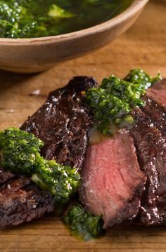 Skirt Steak with Chimichurri – This authentic Argentinian recipe will have you dancing in the streets. Parsley, cilantro, garlic, oregano, red pepper flakes, and olive oil tango together to create a fabulous, fresh sauce for your grilled-to-perfection skirt steak.
