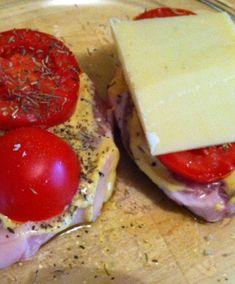 Côte de porc, comté, tomate au four
