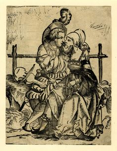 A pair of lovers; a young man and woman sitting on a bank in front of a fence. A violin next to the man. On verso fragment of an ornamental design for wall decoration. Woodcut