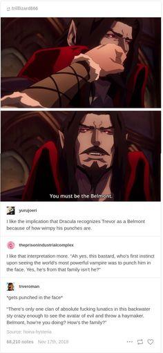 Castlevania Dracula, Castlevania Netflix, Castlevania Anime, Belmont Castlevania, Castlevania Wallpaper, Tumblr Funny, Funny Memes, Trevor Belmont, Film Serie