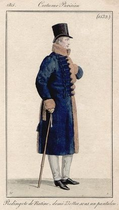 Men's fur-trimmed plush Hussar-style redingote, 1815.