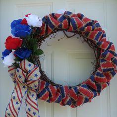 Patriotic Wreath /Americana Wreath/USA Wreath/4th of July Wreath/Fourth of July Wreath/Burlap Patriotic Wreath/Memorial Day Decor by OneofaKindWreath on Etsy