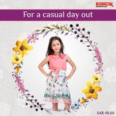Amplify the casual look of your little darling with this coral embroidered dress from basicxx.