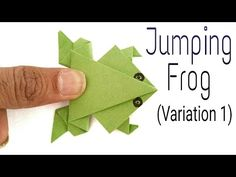 Traditional Jumping Frog (Variation - Action Fun Origami Tutorial by Paper Folds. Origami Jumping Frog Easy, Origami Frog, Origami Love, Useful Origami, Origami Design, Origami Easy, Origami Folding, Paper Folding Crafts, Paper Crafts Origami