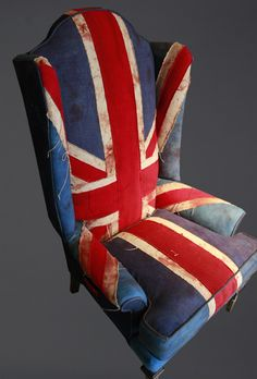 Distressed hand stitched Union Jack chair. I love this!