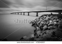 Long exposure black and white of the Confederation Bridge in Canada which links PEI to New Brunswick.