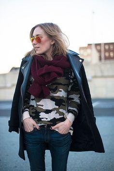 camo sweater + zara jacket