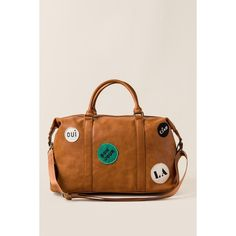 Nova Travel Patch Weekender Bag - Cognac ($30) ❤ liked on Polyvore featuring bags and luggage