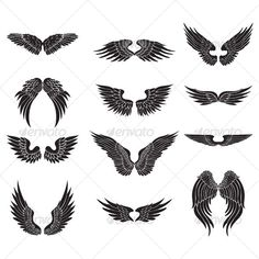 Buy wings design by namistudio on GraphicRiver. set of 12 black wings design Wing Tattoo Designs, Wings Design, Black Wings, Picture Design, Back Tattoo, Unique Tattoos, Stencil, Sketches, Bird