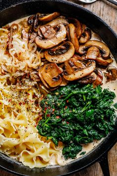 One-Pot Garlic Parmesan Pasta Recipe with Spinach and Mushrooms - #pasta #recipe #eatwell101 - This creamy parmesan spinach mushroom pasta skillet is the ultimate win for easy weeknight dinners! - #recipe by #eatwell101 Garlic Parmesan Pasta, Parmesan Sauce, Creamy Garlic Pasta, Vegan Creamy Pasta, Veggie Recipes, Cooking Recipes, Spinach Recipes, Chicken Recipes, Healthy Dinner Recipes