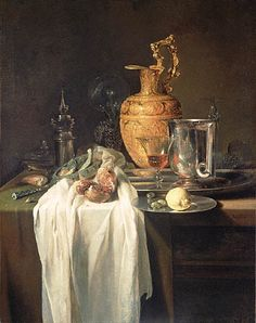 "Willem Kalf (1619 – 1693) was a Dutch Golden Age painter who specialized in still lifes ~  ""Still Life with Ewer, Vessels and Pomegranate"", mid 1640s"