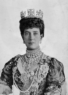 "Her Majesty Queen Alexandra ""Alix"" (Alexandra Caroline Marie Charlotte Louise Julia) Denmark, wife of King Edward VII (Albert Edward) Prince of Wales, UK. Child of King Christian IX Denmark & Princess Louise Hesse-Kassel, Germany. Princess Louise, Prince And Princess, Princess Diana, Queen Mary, King Queen, Queen Elizabeth, Windsor, Princess Alexandra Of Denmark, Royal Tiaras"