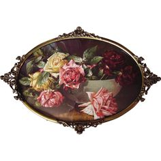 Vintage Roses Print Antique Bubble Convex Glass Fancy Brass Frame Half Yard Long Buy now at Victorian Rose Prints on rubylane.com