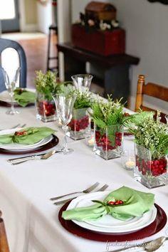 arranjo de mesa de natal- mesa posta natal