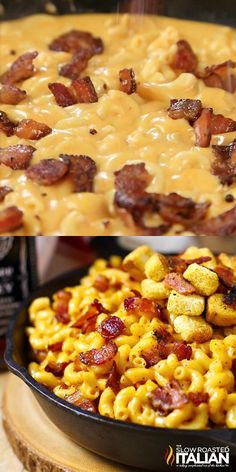 Jack Daniel's Mac and Cheese recipe loaded with hickory smoked peppered bacon, tons of ooey gooey smoky cheese and a selection of spices to wake up all your senses. This is the mac and cheese of your dreams. Recettes de cuisine Gâteaux et desserts Nour Easy Dinner Recipes, Easy Meals, Easy Recipes, Easy Delicious Recipes, Lunch Recipes, Breakfast Recipes, Macaroni Cheese Recipes, Food Dishes, Healthy Recipes