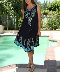 Look at this #zulilyfind! Navy & Turquoise Paisley Embroidered Shift Dress - Women #zulilyfinds