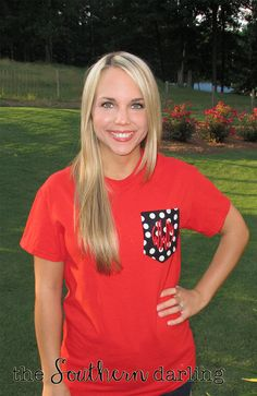 Monogrammed Pocket Tee - Via Etsy