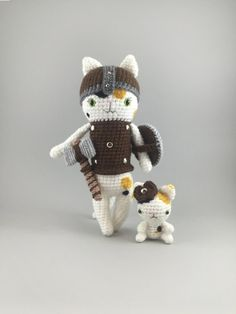 RESERVED  Crocheted Warrior Calico Cat and Sidekick by MossyMaze