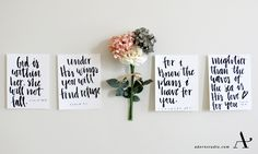 Scripture signs adorned with hand lettering. Calligraphy is one of the few little loves of Adorn Studio. Adorn Studio  adornstudio.com