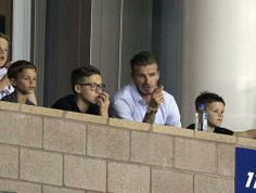 David Beckham has a bonding session with his three sons Brooklyn, Romeo and Cruz as they watch the LA Galaxy v Colorado Rapids football match in Los Angeles