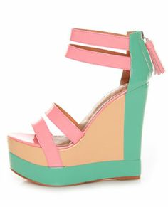 The Matiko Echo Light Red Pastel Color Block Platform Wedges are so sweet a treat, they ought to come on an ice cream truck! Pastel pink patent leather with mint green and vanilla. Cute Shoes, Me Too Shoes, Pretty Shoes, Beautiful Shoes, Look Fashion, Fashion Shoes, Girl Fashion, Club Party Dresses, Chanel