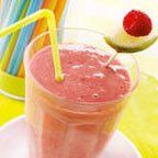 Raspberry Lime Smoothie    1 cup (approx) frozen raspberries  juice of a wedge of lime  2 scoops shake mix  water    Blend until smooth and enjoy! Great for people who like things a little more tart! :)