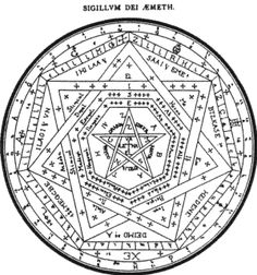 Diamagnetic Gravity Vortexes;  a Renaissance magical sigil showing various levels of power. From Nigel Pennick's book Sacred Geometry (1980)