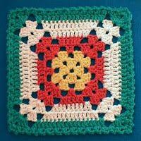 Crochet Granny Square Patterns Nina's At My House: Free Crochet Pattern Motifs Granny Square, Crochet Motifs, Crochet Dishcloths, Granny Square Crochet Pattern, Crochet Squares, Crochet Blocks, Crochet Stitches, Free Crochet, Knit Crochet