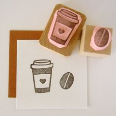 Coffee Cup and Coffee Bean Hand Carved Rubber Stamp Set