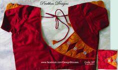 Aari Embroidery classes by Prabhas Designs: Designer Blouses Cotton Saree Blouse Designs, Saree Tassels Designs, Bridal Blouse Designs, Blouse Patterns, Patch Work Blouse Designs, Simple Blouse Designs, Stylish Blouse Design, Crochet, Pattern Sewing