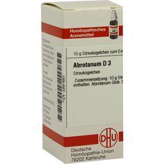 ABROTANUM D 3 Globuli:   Packungsinhalt: 10 g Globuli PZN: 02891687 Hersteller: DHU-Arzneimittel GmbH & Co. KG Preis: 5,50 EUR inkl. 19 %…