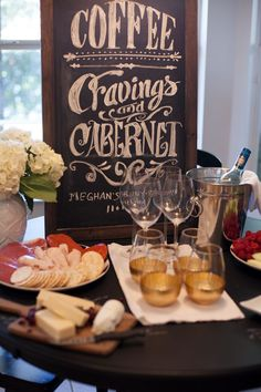 Coffee, Cravings and Cabernet Baby Shower - what an adorable theme (all things the mommy loves!)