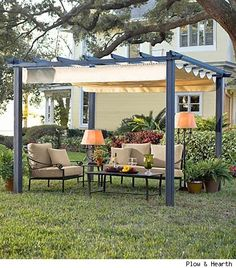 "Retractable Roof Pergola $999.95 ""The Retractable Roof Pergola creates a shady setting for entertaining and outdoor dining on a porch or patio or in a yard. The smooth-moving retractable top lets you control the sun and shade and offers shelter from a passing shower. Powder-coated aluminum and steel frame with an all-weather polyurethane-coated polyester shade. 10' sq. x 84"" H. Assembly required."""