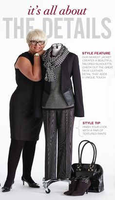 Cleo Fall Style with Lynn Spence: Style Feature - Our newest jacket creates a beautiful tailored silhouette. Check out the great faux leather detail that adds a unique touch. Mature Women Fashion, Plus Fashion, Womens Fashion, Wardrobe Basics, Capsule Wardrobe, Holiday Fashion, Autumn Winter Fashion, Cool Outfits, Summer Outfits