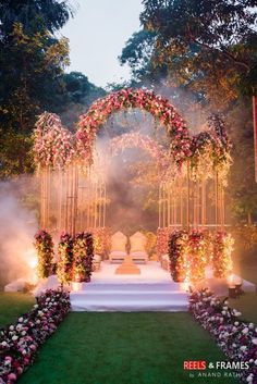 Photo of Floral decor mandap idea with open sides and aboveYou can find Indian weddings and more on our website.Photo of Floral decor mandap idea with open sides and above Desi Wedding Decor, Wedding Hall Decorations, Wedding Reception Backdrop, Wedding Mandap, Table Decorations, Wedding Themes, Wedding Centerpieces, Wedding Planner Cost, Wedding Planners
