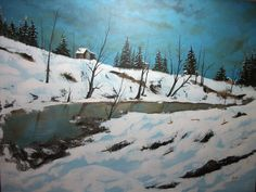 Title: Winter day Medium: Acrylic on linen canvas Size: 76 x 102 cm by Virginia Katsini Scotland
