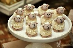 Adorable treats at a lamb baptism party! See more party planning ideas at… Easter Recipes, Snack Recipes, Snacks, Cake Pops, Birthday Party Drinks, Sheep Cake, Barnyard Party, Sheep And Lamb, Baptism Party