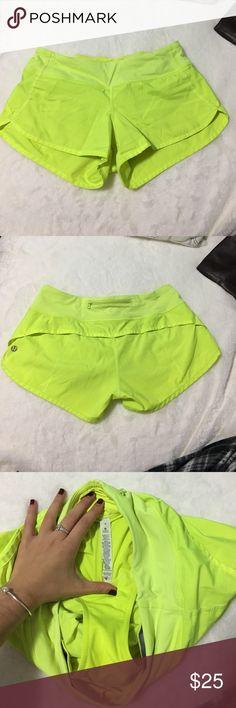 Lululemon speed shorts Neon green lululemon speed shorts - mildly worn lululemon athletica Shorts