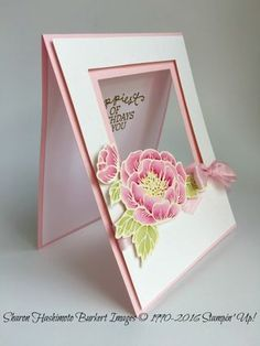 Birthday Blooms wSquare frames side - now I have those square framelits - I must… Birthday Cards For Women, Handmade Birthday Cards, Happy Birthday Cards, Greeting Cards Handmade, Flower Birthday Cards, Card Birthday, Female Birthday Cards, Fancy Fold Cards, Folded Cards