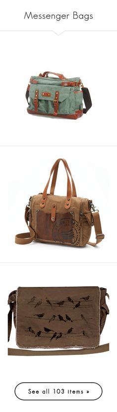 """""""Messenger Bags"""" by marielw97 ❤ liked on Polyvore featuring bags, handbags, leather handbags, green leather purse, canvas purse, canvas leather handbag, real leather purses, brown, brown satchel handbag and hand bags"""