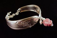 Silver spoon bracelet with pearls and carved rhodonite bead by Laura Beth Love Dishfunctional Designs