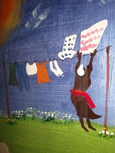 Hanging Out Laundry original folk art painting by by nitajoanbunge,