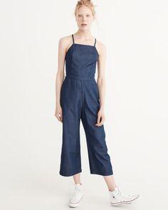 6ac1bd04ac9b A amp F Women s Culotte Jumpsuit in Blue - Size 10 TLL Denim Jumpsuit