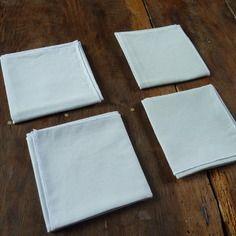 Lot de 4 mouchoirs en tissus lavable, coton vert clair